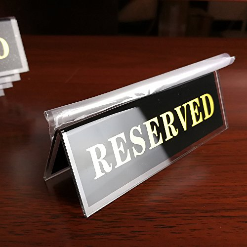 Double Sided Tent Sign - Melleco Acrylic Reserved Table Seat Sign Plate Double Sided Tent Style Stand Display Restaurant 4.5 x 1.5-inch (10pcs)