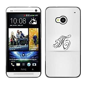 TopCaseStore / la caja del caucho duro de la cubierta de protección de la piel - Art Calligraphy T M Letters - HTC One M7