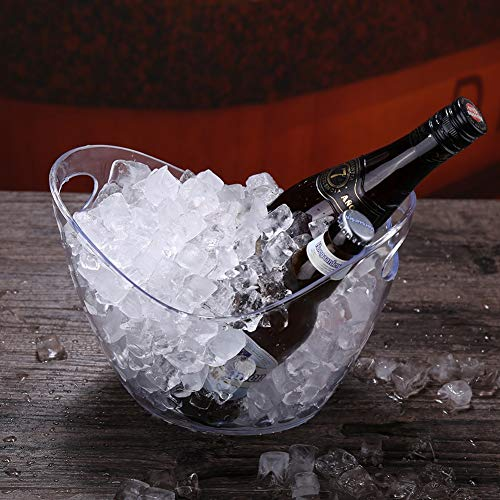 Wine Cooler Bucket, Clear Champagne Bucket Beverage Tub Carry Handle Acrylic Ice Bucket Barware Bar Cart for Party Picnic (Color : 4L, Size : 27x20x20cm(17x8x8inch))