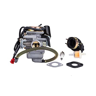 Hity Motor PD24J Carburetor for 4- Stroke GY6 125cc 150cc 152QMI 157QMJ Engine Scooter ATV Go Kart Kazuma Baja Kymco Taotao SunL Tank with Fuel Filter Spark Plug Intake Manifold and Adjusting Shims: Automotive