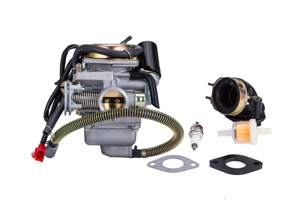 Hity Motor PD24J Carburetor for 4- Stroke GY6 125cc 150cc 152QMI 157QMJ Engine Scooter ATV Go Kart Kazuma Baja Kymco Taotao SunL Tank with Fuel Filter Spark Plug Intake Manifold and Adjusting Shims by Hity Motor