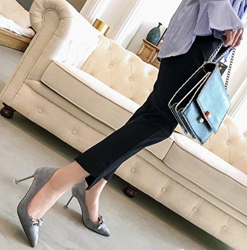 Ajunr Moda calzado mujer puerto luz la multa seguido conmutar Pajarita gris silvestre 9cm los zapatos de tacón alto solo zapatos 36 Ocasional elegante,Transpirable,Sandalias Mujer 39