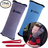 Seat Belt Pillow for Kids by Cuddles | Kids Seatbelt Pillow| Seatbelt Pillow for Kids| car Travel Head Cushion, Seatbelt Pillow, Washable Cover Headrest 2 pk Blue and Gray