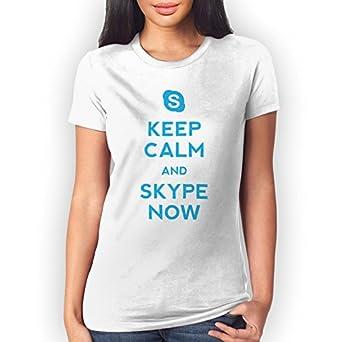 Keep Calm And Skype Now XXL Womens T-Shirt: Amazon co uk