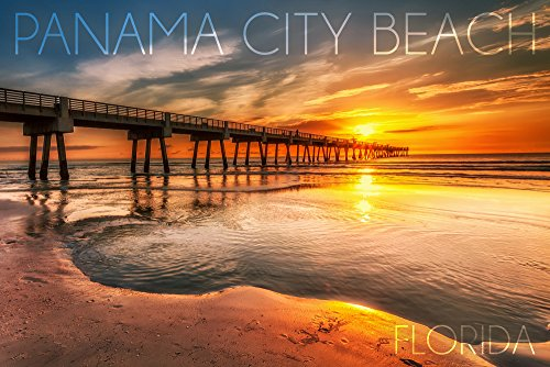 Panama City Beach, Florida - Pier and Sunset (16x24 SIGNED Print Master Giclee Print w/ Certificate of Authenticity - Wall Decor Travel - City In Pier Panama