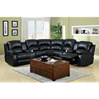 3 pc Wolcott Contemporary black Bonded Leather Reclining Sectional Sofa Set with center drink consoles