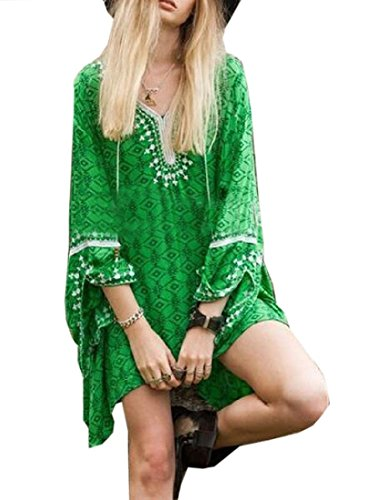 donne Manica Abito V Coolred Collo Verde Dolman Sbilanciato Stampa Floreale xAagwwqd