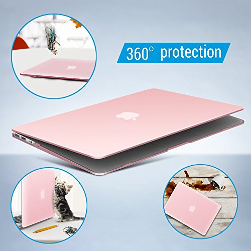 iBenzer Basic Soft-Touch Series Plastic Hard Case & Keyboard Cover for Apple Macbook Air 13-inch 13'' A1369/1466 (Rose Quartz) by iBenzer (Image #5)