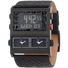 Marc Ecko Men's Tectonic E21586G1 Black Leather Quartz Watch with Digital Dial