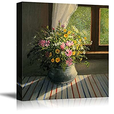A Bouquet of Wild Field Flowers Caressed by a Sunbeam Trough The Window in Oil Painting Style - Canvas Art Wall Art - 16