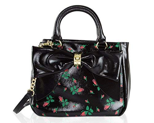 Betsey Johnson Rosebud Floral Faux Patent Leather Bag In Bag Bow Trim Triple Entry Satchel Crossbody