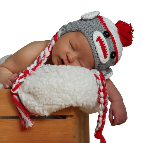 Melondipity Sweet Sock Monkey with Braids Baby Hat Grey and Red 6-12 Months
