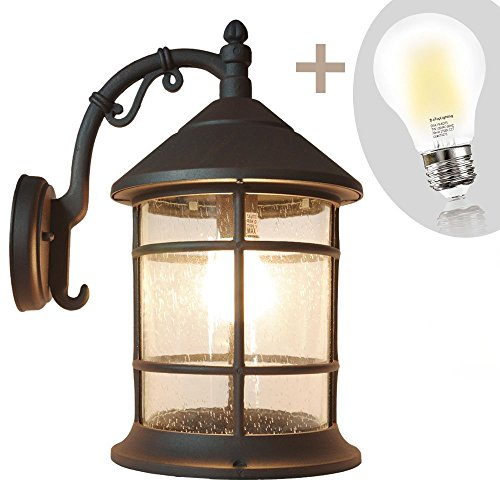 eTopLighting Bella Luce Collection Oil Rubbed Rust Exterior Outdoor Wall Lantern with Soft Warm White 2700K 8W LED Bulb, APL1372 by eTopLighting