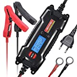 MICTUNING MULTI-STAGE LCD Display 6V/12V 0.8A/3.8A Smart Fully Automatic Battery Float Charger/Maintainer with Inline Blade Fuse, SAE Quick Connector