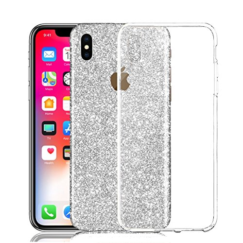 iPhone X Sticker, Toeoe Bling Crystal Diamond Decal Skin with a Clear Case for iPhone X Silver