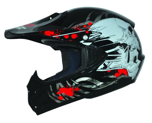 ATO-Helme Kids Pro Kinderhelm Crosshelm Schutzhelm Motorradhelm Quadhelm Kinder Cross BMX Helm (S 53/54cm, Schwarz)