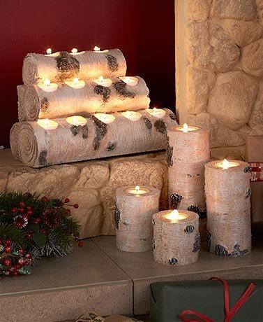 Woodland Tea Light Candleholders. Set of 4 Holders or Large Log Holding 12 Lights (Set of 4 Holders)