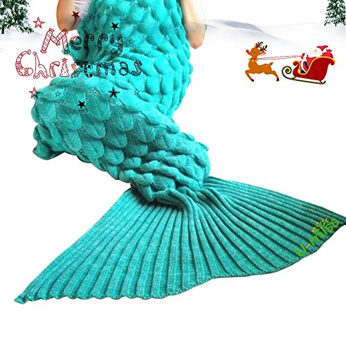 "U-miss Mermaid Blanket Crochet and Mermaid Tail Blanket for adult, Super Soft All Seasons Thicken Sleeping Blankets(71""x35.5"", LP Green)"