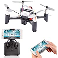 A-parts Mini FPV RC Drone with 0.3 Mega Pixels HD Wifi Camera Live Feed 2.4GHz 4CH DIY 6-Axis Gyro APP Control FPV Quadcopter, Gravity Sensor, Altitude Hold and Headless Mode Helicopter for IOS or Android System, Color Black