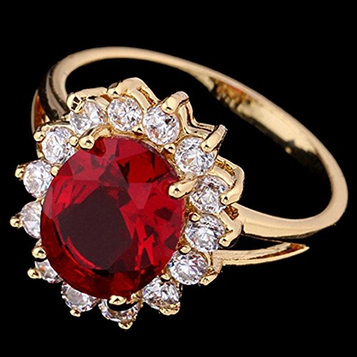 SODIAL(R) Fashion Women Oval Cubic Zircon Ring Copper Plated Wedding Engagement Rings Gold+Red US8