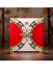 Red Double Happiness Chinese-style Wedding Invitations Card with Buckle Oriental Style Dinner Party Greeting Cards CW3082 (100)