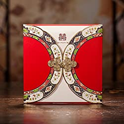 Red Double Happiness Chinese Wedding Invitation Card with Buckle Oriental Style Dinner Party Greeting Cards CW3082 (100)