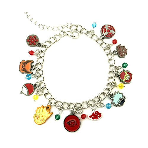 J&C Family Owned Brand Naruto Uzumaki and Sasuke Uchiha Ninja Theme Charm Bracelet w/Gift Box