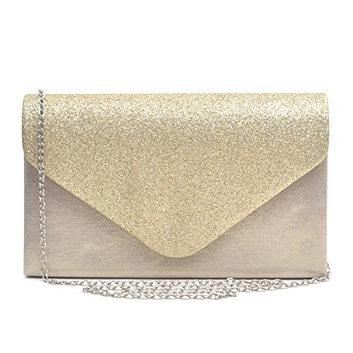 Womens Envelope Flap Clutch Handbag Evening Bag Purse Glitter Frosted Sequin Party Gold - Elegant Evening Shoes