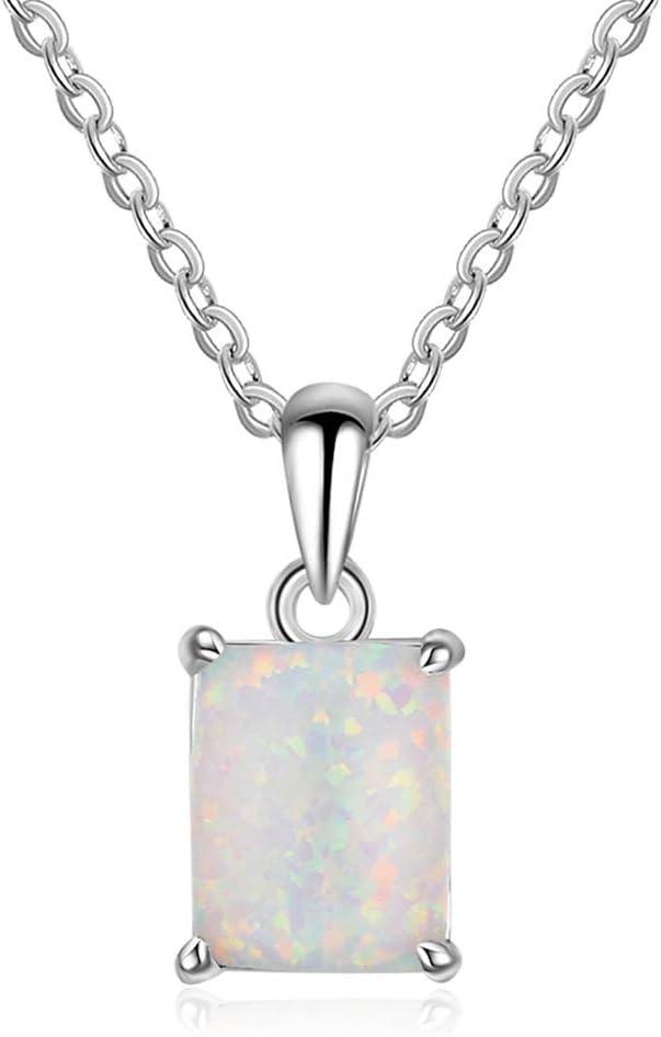 J.Memi's Mujer Collar Ópalo Plata De Ley 925 Colgante Forma Cuadrada Hermosa Joyería De Aniversario Cumpleaños Regalo para Novia