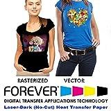 "Forever Laser Dark No-Cut A+B Paper 8.5"" X 11""- 100 Sheets Heat Transfer"