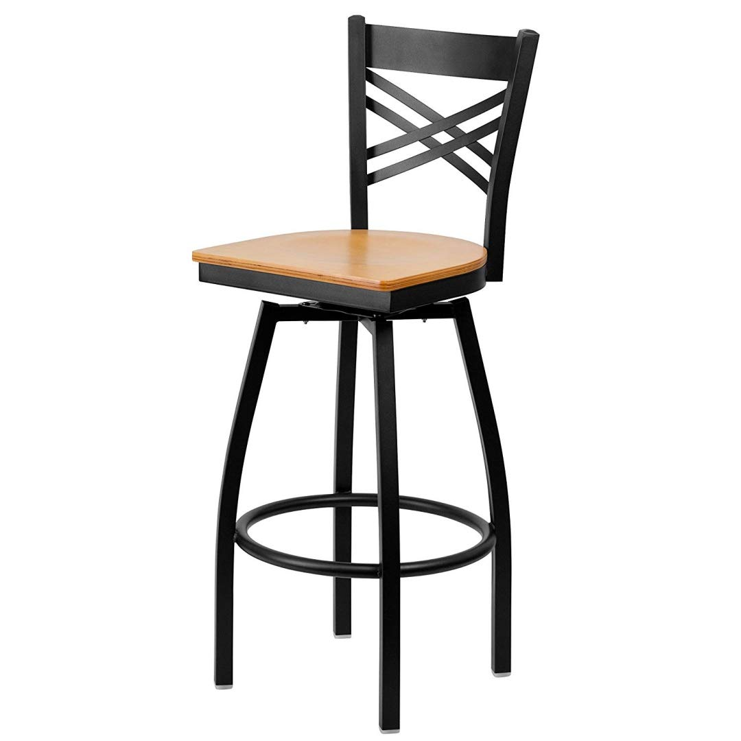Modern Style Metal Dining Bar Stools Cross-Back Design 360-Degree Swivel Seat Lounge Diner Restaurant Commercial Black Powder Coated Frame Finish Home Office Furniture - (1) Natural Wood Seat #2199