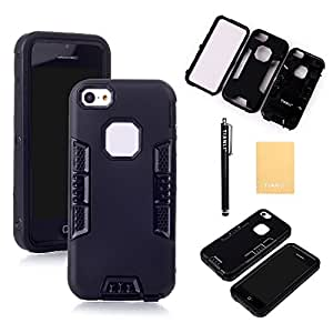 TIANLI(TM) High Impact Rugged Hard Soft Case For iPhone 5C,Screen Protectors,Stylus and Cleaning Cloth All Black EK