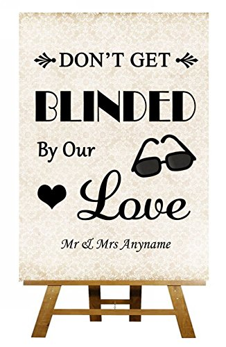 Shabby Chic gafas de sol Favor Cegado por el amor con texto ...