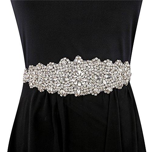 Rhinestone Metal Belt Buckle (Wedding Sash Belt Bridal Wedding Dress Applique, Bridal Wedding Sash Crystal Belt Embellishments for Women Formal Dresses Sewn or Hot Fix - Silver)
