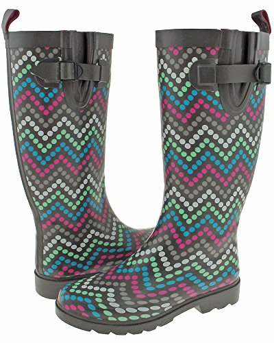 Capelli New York Ladies Tall Skinny Chevron Dots Imprimir Rain Bota Grey Combo