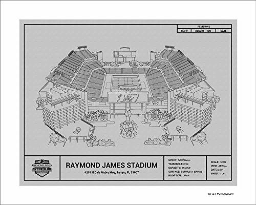 Tampa Bay Buccaneers Raymond James Stadium Blueprint Art Gift ()