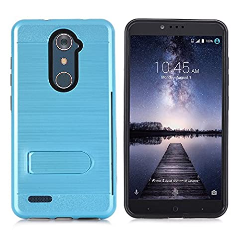 ZTE Zmax Pro Case, NOKEA [Card Slot Holder] Dual Layer Shock Absorption Protective with Card Defender Shockproof Anti-Scratch Soft Rubber Bumper Cover Case for ZTE Zmax Pro / Carry Z981 (Sky (Zte Zmax Phone Case Animals)