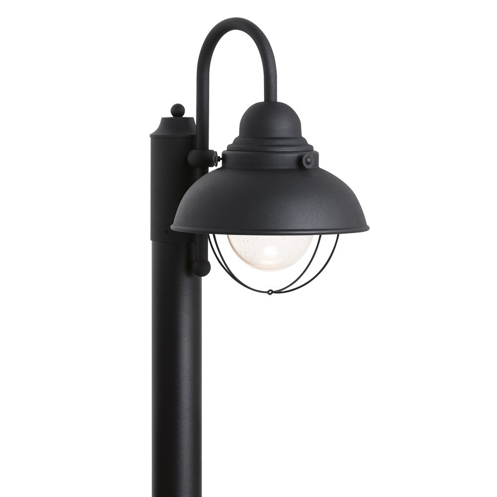 Sea Gull Lighting 826991S-12 Sebring LED Outdoor Post Lantern with Glass Diffuser, Black Finish