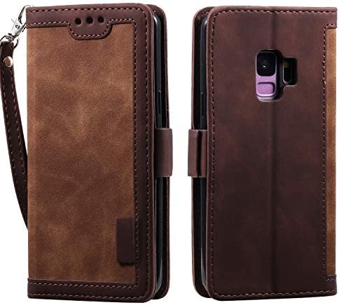 Docrax Galaxy S9+ / docomo SC-03K / au SCV39 ケース 手帳型 スタンド機能 財布型 カードポケット マグネット ギャラクシーS9プラス 手帳型ケース レザーケース カバー - DOHHA160180 茶