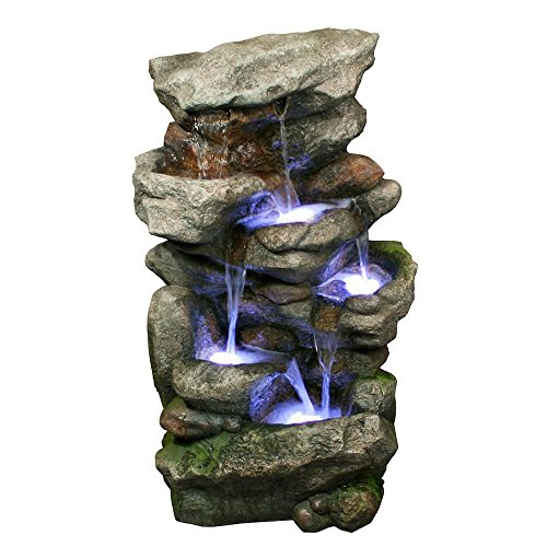 Bear Creek Waterfall Fountain – Towering Rock Outdoor Water Feature for Gardens & Patios. Hand-crafted Weather Resistant Resin. LED Lights & Pump Included.