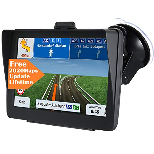 GPS Navigation for Car[2020 Upgraded Version] 7 inch HD Capacitive Touch Screen GPS Navigation System with 8G Memory, Attach Sunshade,Free Lifetime Maps