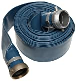 Apache 98138065 3'' x 50' Blue PVC Lay-Flat Discharge Hose with Aluminum Pin Lug Fittings