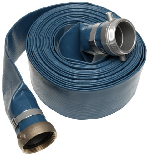 Apache 98138065 3'' x 50' Blue PVC Lay-Flat Discharge Hose with Aluminum Pin Lug Fittings by Apache