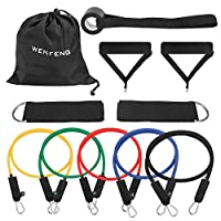 WENFENG 11PC Resistance Bands Set,10lbs to 50lbs Workout Bands - with Door Anchor Handles and Ankle Straps - Stackable Up to 150 lbs - for Resistance Training, Physical Therapy, Home Workouts from WENFENG