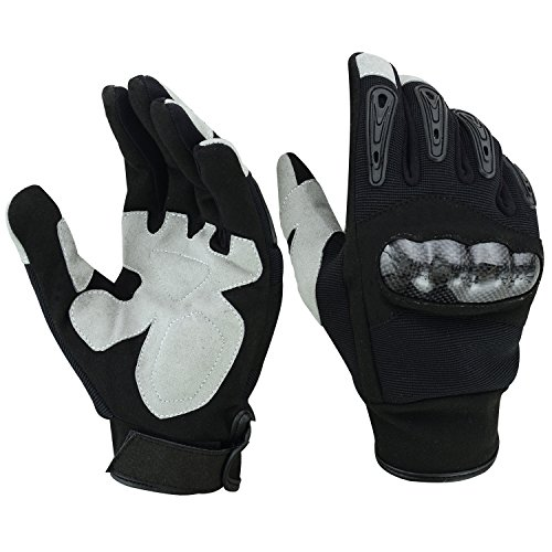 Mens Pittards Carbon - ROAR Mens Air Cooled No Sweat Carbon Fiber Knuckle Motorcycle Gloves Full Finger (Blk/White, Medium)