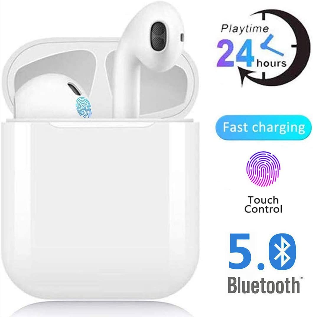 Auriculares Bluetooth Auriculares inalámbricos IPx5 a Prueba de Sudor Auriculares 3D estéreo a Prueba de Agua Toque Auriculares Deportivos Funciona Compatible con Android/Airpods/iPhone/Apple