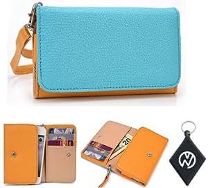 Yellow Baby Blue Wallet Phone Cover Wristlet Clutch Case Fits Nokia Asha 306 + NuVur 153; Keychain |ESAMMTYB|