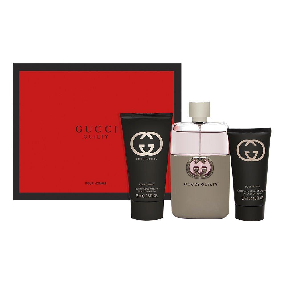 Gucci Guilty by Gucci for Men 3 Piece Set Includes: 3.0 oz Eau de Toilette Spray + 2.5 oz After Shave Balm + 1.6 oz Shower Gel