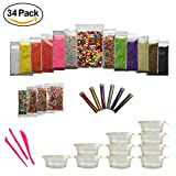 #9: Slime Foam Balls Kit, Styrofoam Beads For DIY Kids Arts and Crafts - Fruit, Heart, Cake Slices, with Tools, Star Glitter, Assorted Colors, Great for Gifts, School; Fun Making (34 Pack)