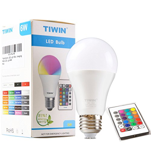 TIWIN Dimmable A19 E26 LED Bulbs, 16 Color Choice, Memory Function 6W RGB Multi Color Changing Dimmable LED Light Bulbs with Remote Control